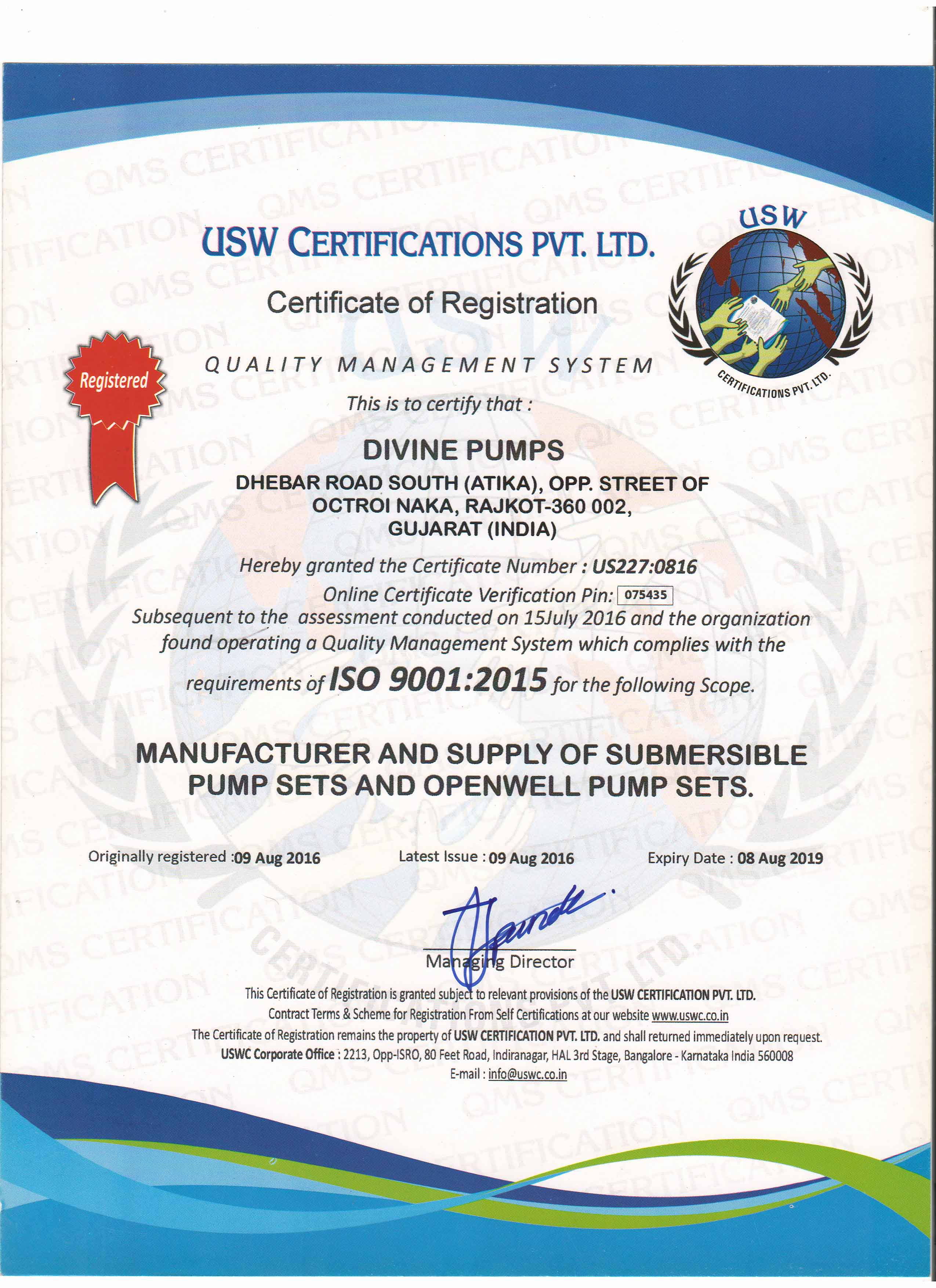 INTERNATIONAL STANDARDS ORGANIZATION CERTIFICATE